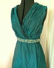 Teal Green Wrap Evening Mother of Bride Formal Dress Size 12 14 A-line Faux Silk