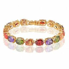 Zircon Ruby Sapphire Emerald Micro Inlays 18k Yellow GP Bracelet Bangle CBR0009C