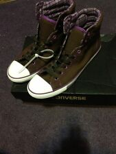 Converse Womens Size 8 Ct Pc Dainty Hi Chocolate Brown And Purple Sneaker