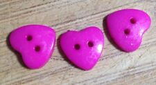 10 X Bright Pink Two Hole Plastic Hearts- Australian Supplier