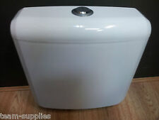 LOW LEVEL COMPACT PLASTIC DUAL FLUSH PUSH BUTTON TOILET WC CISTERN BOTTOM ENTRY