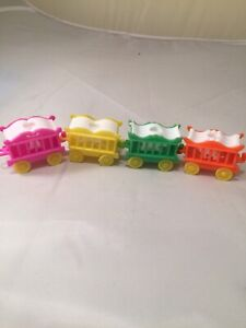 4 Vintage BIRTHDAY Circus TRAIN CANDLE HOLDER w/Animal Candles CAKE TOPPER Decor