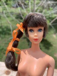 Vintage Barbie Talking Doll Brown Side Ponytail Great Color Nude Mute Mod Era