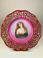 Vintage CICO German Bavaria Lattice Reticulated Portrait Plate Gold & Burgundy