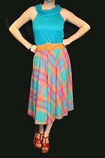 S~M Vtg 80s Toni Todd Sun Dress Teal Blue Knit Top Plaid Skirt Garden Tea Party
