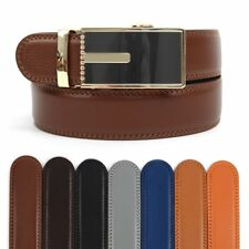 Men's Leather Ratchet Belt with Geometrical Path Automatic Buckle (MGLBB15)