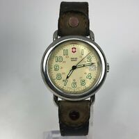 Vintage Swiss Army Cavalry Mens Brown Leather Band Date Quartz Wristwatch
