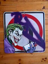 "RD357  "" The Joker ""  Peinture Originale / Panneau de Signalisation Graffiti Art"