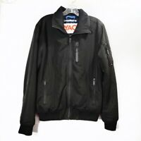 Superdry Black Bomber Jacket Full Zip Long Sleeve Embossed Mens Size Large L