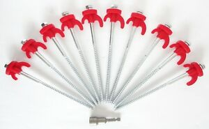 Screw In Tent Pegs x 20 Hard Standing Ground Dill in Caravan Camping Tent Awning