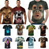3D Wolf Tiger Print T-Shirt Animal Men Casual Cool Summer Short Sleeves Tops Tee