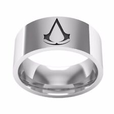 SIZE:8  ~ASSASSIN'S _ CREED  ~ SILVER ~ 8mm ~ S/STEEL ~  RING --- (GREAT_ GIFT)