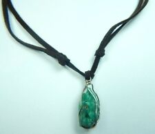 Colombian Emerald Natural Raw Crystal Necklace 12.00 Cts Silver- Leather Muzo Mi