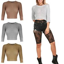 New Womens Ladies Cable Knitted Ribbed Plain Metallic Lurex Bralet Cropped Top