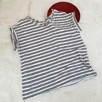 Gap Womens Top Size XXL White Navy Striped Cuff Sleeve Wide Neck Tee Shirt o769