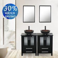 "Modern Black 48"" Double Bathroom Vanity Cabinet W/ Mirror Vessel Glass Sink Top"