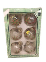 "VTG Krebs 6 CLEAR Colorful STARS Blown Glass Christmas Ornaments 3"" Balls"