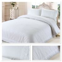 Rapport Victoria Floral Lace Trim Embroidered Duvet Cover Bedding Set White
