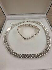 Solid Sterling Silver 925 Hallmarked Necklace and Bracelet Set Unisex 155g #514