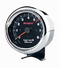 Sunpro 3 3/8 Inch Sun Super Tach II Black / Chrome Bezel New CP7901 0-8000 RPM