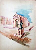 ✅Acquerello '900 su carta Watercolor Architettura futurista cubista razionale-62