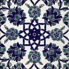 "Blue & White Raised Iznik Carnation & Daisy Pattern 8""x8"" Turkish Ceramic Tile"