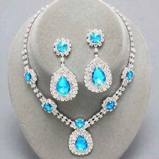 Aqua diamante crystal necklace set Brides Bridesmaids Proms statement jewellery