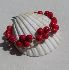 "Natural Red Coral Gemstone Beaded Bracelet ""Holly Berry"""