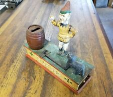 Vintage Antique Mechanical Cast Iron Bank • TRICK DOG Coin Bank Collectible Toy