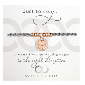 Compass Friendship Ladies Bracelet - Grey & Rose Gold - By Infinity & Co