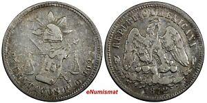 MEXICO Silver 1872 Pi O 25 Centavos San Luis Potosi Mint-46,000 KM#406.8 (116)