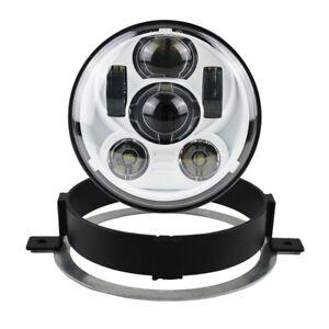 White 5.75 inch LED Headlight Round W/Bracket for Honda 2002-2008 VTX 1300/1800