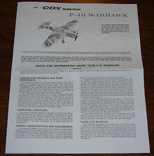 COX THIMBLE DROME .049 P-40 WARHAWK MANUAL FLIGHT INSTRUCTIONS 049