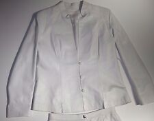 CASA LOPEZ BUENOS AIRES WHITE LEATHER SUIT BLAZER AND SKIRT MADE IN ARGENTINA