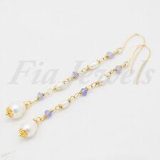 Orecchini rosario giada lavanda e perle Gioielli Artigianali Pietre Naturali