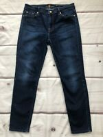 7 For All Mankind Size 31 Mid Rise Ankle Skinny Dark Wash Denim Jeans