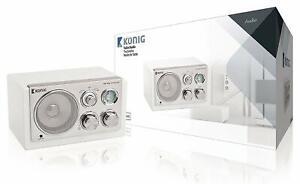 Konig Table Radio Retro White [HAV-TR1200UK]  Portable Radios Electronics NEW