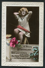 C1920s Studio Birthday Card: Young Girl in Dress with Umbrella