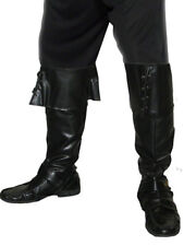 Black Boot Covers Faux Leather Adults Pirates Fancy Dress Costume Accessory