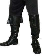 Negro Cubrebotas Piel Sintética Adulto Piratas Accesorio para Disfraz