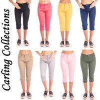 Ladies Cropped Jeans Capri Women Plain Coloured Summmer Pocket 3/4 Pants Size UK