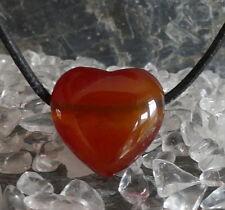 Karneol Heilstein Herz  Anhänger gebohrt mit Lederband 5,67 Gramm