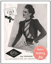 1940s Ladies Twinset Vintage Knitting Pattern Copy
