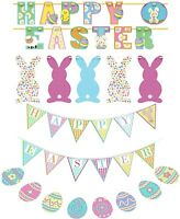 EASTER BUNTING PARTY DECORATIONS BUNNY GARLAND EASTER EGGS ARROWS & STICKERS