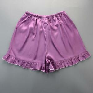 Women Satin Bloomer Pettipant Short Slip Lace Edge Everyday Panties Lingerie
