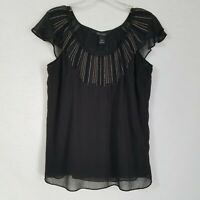 White House Black Market Blouse Flutter Sleeve Embellished Neck Black Size XS