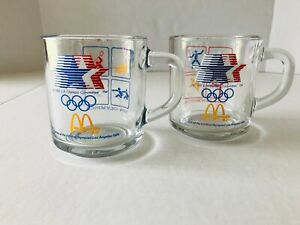 McDonalds Set of 2 Vintage 1984 Los Angeles Olympics Glass Coffee Mug Cups