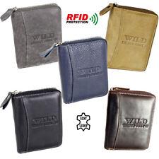 Leder Geldbörse Herren Brieftasche Geldbeutel mit Reißverschluss mit RFID Schutz