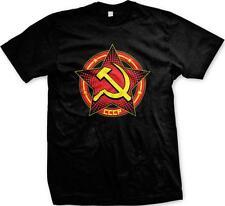 Russia CCCP USSR Soviet Union Star Hammer Sickle Circle Pride Mens T-shirt