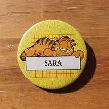 Vintage GARFIELD 1980's Name Button Pin - SARA